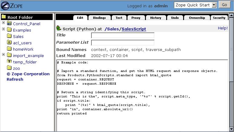 7  Using Basic Zope Objects — Zope documentation 4 0